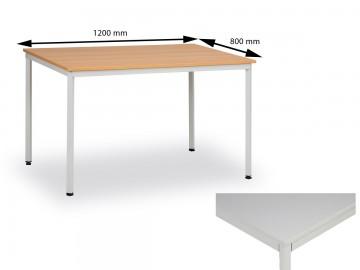 Jídelní stůl 120x80 cm, nohy světle šedé / deska šedá