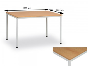 Jídelní stůl 160x80 cm, nohy světle šedé / deska buk
