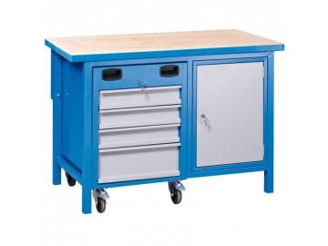 Dílenský pracovní stůl NP0400 1200x600, 1x kontejner, 1 skříňka