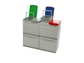 Odpadkový koš na tříděný odpad EM 2x30 l + 4x15 l