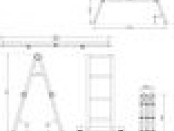 Hliníkový žebřík, skládací, 4 x 3 příčky