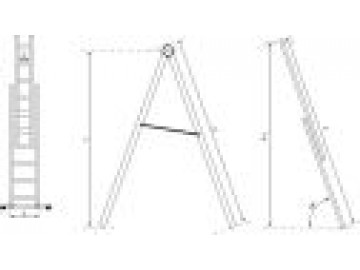 Hliníkový žebřík - štafle, 2 x 9 příček