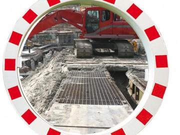 Dopravní zrcadlo v červenobílém rámu, Polymir 549
