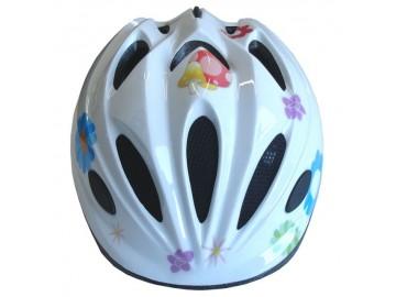 Cyklistická dětská helma bílá s potiskem velikost S