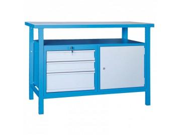 Dílenský pracovní stůl NP390 1200x600, 3 x zásuvka, 1 skříňka