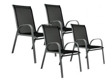 Sada 4 x zahradní židle stohovatelná s vysokým opěradlem