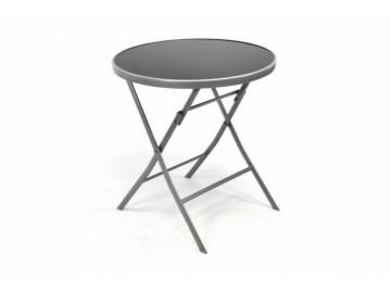 Zahradní bistro stolek skleněný se sklopnou deskou - stříbrný