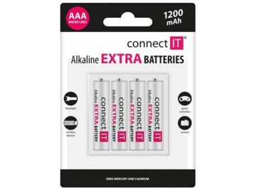 Baterie Connect IT alkalické AAA LR03 4ks