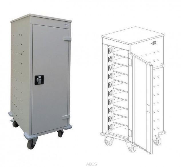 Pojízdý kovový vozík WNL 110 s 10 boxy na notebooky
