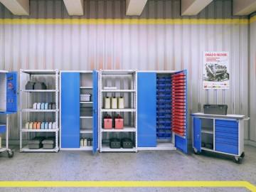 Dílenská skříň SWM 205 s plastovými boxy